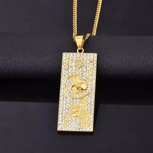 "Other - 18k Gold $100 Bill Money Pendant 22"" Necklace"